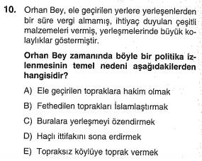 osmanlı kuruluş dönemi testi çöz