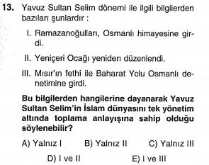 ygs osmanlı yükselme dönemi testi çöz
