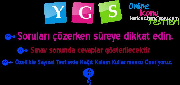 Online YGS Testleri Çöz