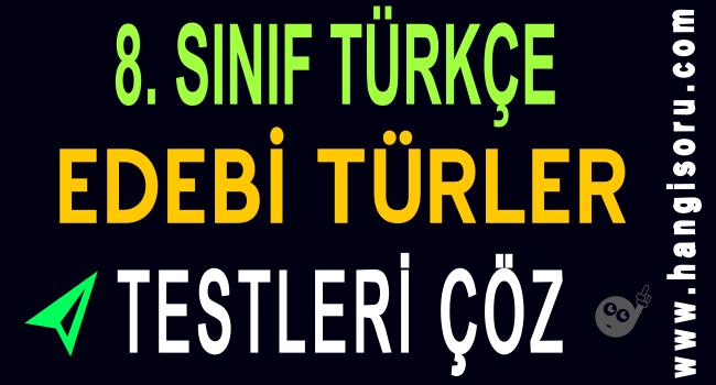 8. Sınıf Türkçe Edebi Türler Testi Çöz