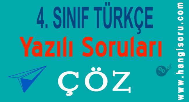 4. Sınıf Türkçe 1. Dönem 1. Yazılı Soruları Çöz 2
